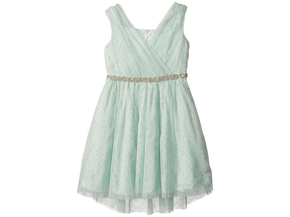 Us Angels Sleeveless Wrap Front Bodice w/ High-Low Skirt (Big Kids) (Teal) Girl