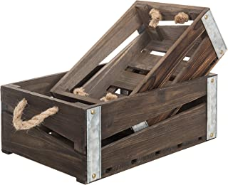 MyGift Rustic Wood Nesting Storage Crates with Rope Handles, Set of 2