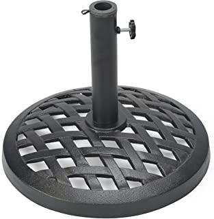 Trademark Innovations Cast Iron Umbrella Base, 17.7 Inch Diameter, Black Finish
