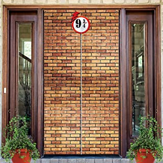 Brick Wall Backdrop 9 And 3/4 Cross Station, Brick Wall Party Backdrop Door Curtains for Wizard Wall Decoration Magical Wi...