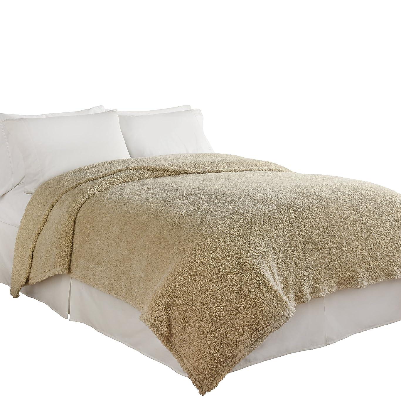 バージン外国人疲れたBeautyrest Cosette Ultra Soft Blanket Full/Queen ベージュ 16513BEDDF/QCRM