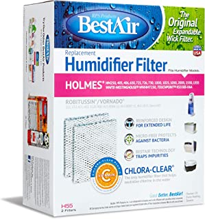 BestAir H55 Extended Life Humidifier Replacement Paper Wick Humidifier Filter, For Holmes, Vornado, Gerry, and Touch Point Models, 7.5