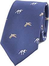 MENDEPOT Pointer And Wren Necktie With Box Microfiber Jacquard Deep Blue Dog And Bird Pattern tie