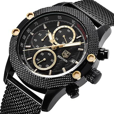 Benyar アナログスポーツ腕時計多機能クロノグラフ ブラック