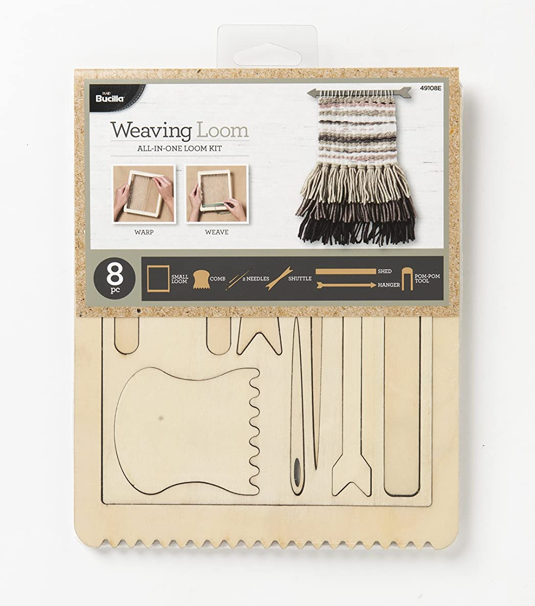 Bucilla 49108 Weaving Loom Kit, 8 pc, Rectangle All-in-One