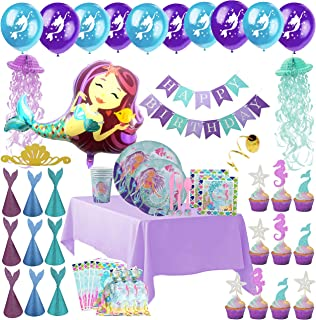 Mermaid Party Supplies - Complete Tableware and Decoration Deluxe Set - Plates, Cups, Utensils, Napkins, Table Cloth, Balloons, Birthday Banner, Jellyfish, Cupcake Topper, Favor Bags & Hats -Serves 16