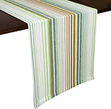 GLAMBURG 2 Pack Cotton Table Runners Farmhouse 90 Inch, 14x90 Pacific Stripe Wedding Table Runners with Mitered Corners and Generous Hem, Bridal Decor Dining Table Runners Gold Lime Green White