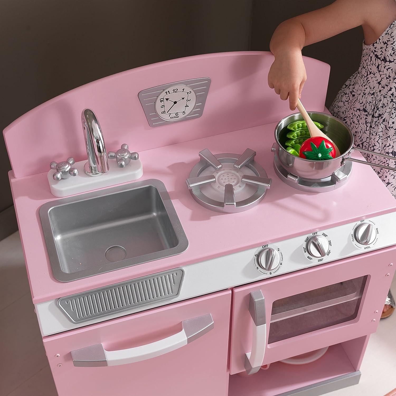 Amazon Com Kidkraft Retro Kitchen And Refrigerator Pink Toys Games