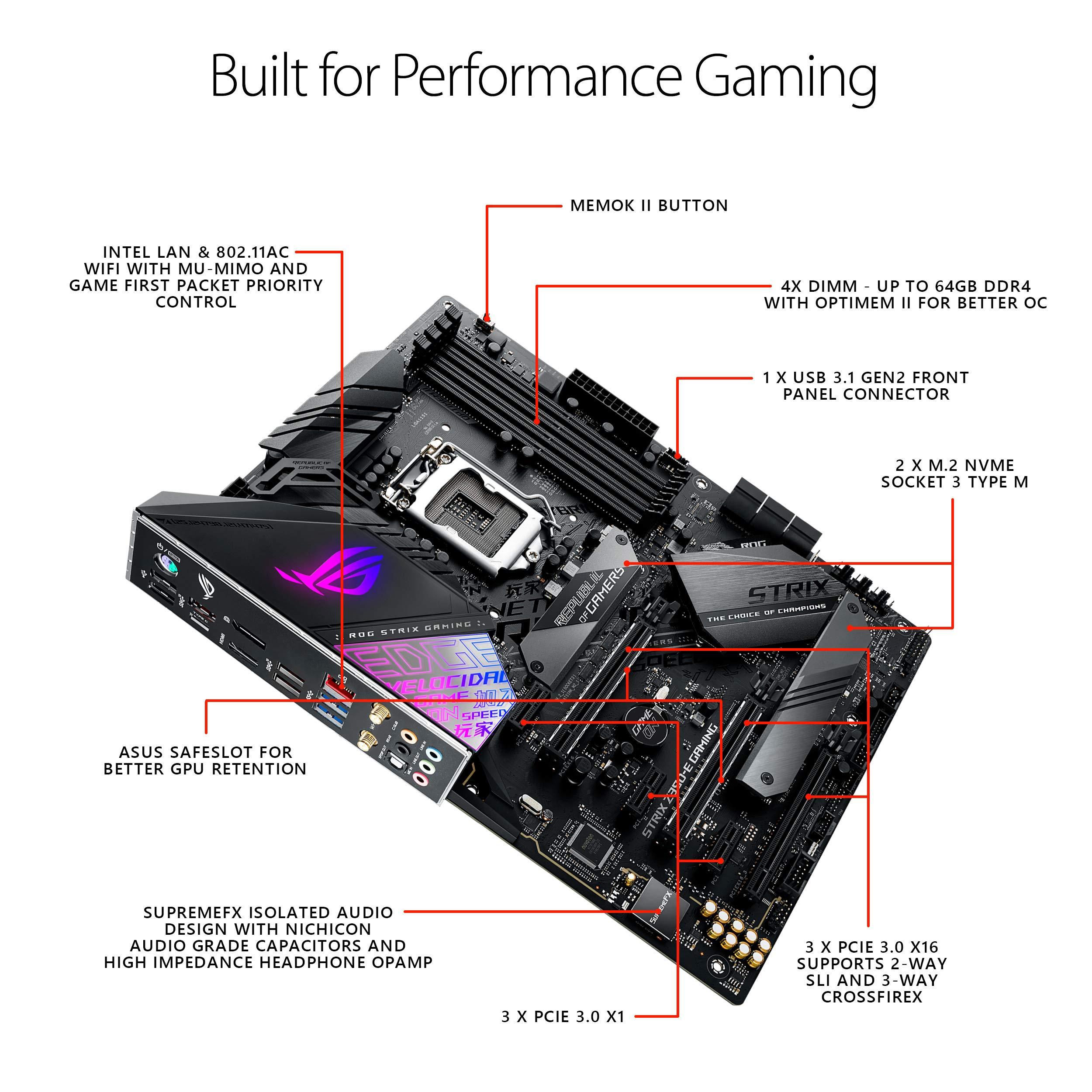 Asus Rog Strix Z390 E Gaming Motherboard Lga1151 Intel 8th 9th Gen Atx Ddr4 Dp Hdmi M 2 Usb 3 1 Gen2 802 11ac Wi Fi Amazon Sg Electronics