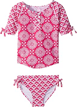 Hatley Kids - Pink Medallions Rashguard Set (Toddler/Little Kids/Big Kids)