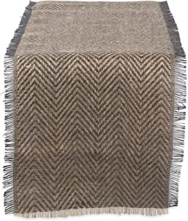 """DII Jute Collection Kitchen Tabletop, Table Runner - 14 x 108"""", Chevron Gray"""