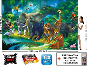 Children's Room Wall Mural – Jungle Animals – Safari Mural Children Room Poster Wild Animal Adventure Colorful Kids Design Wilderness Decor Wallpaper (132.3 x 93.7 Inch / 336 x 238 cm)