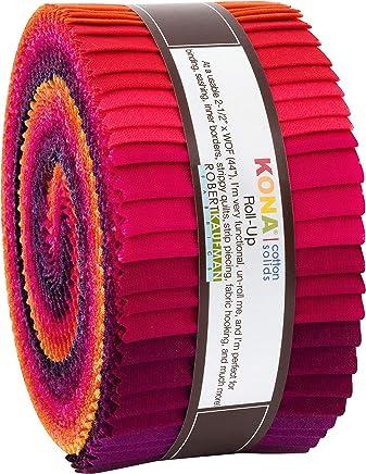 "Robert Kaufman Kona Cotton Solids Birds of Paradise Roll Up 2.5"" Precut Cotton Fabric Quilting Strips Jelly Roll Assortment RU-773-40"