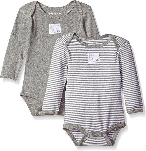 بيرتز بيز بيبي - بدلة أطفال للجنسين، عبوة من قطعتين من القطن العضوي قصيرة وطويلة الأكمام قطعة واحدة