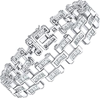 Men's Elegant Sterling Silver .925 Bracelet with 156 Highest Quality Channel-Set Simulated Diamond Princess-Cut Cubic Zirconia (CZ) Stones, Secure Box Lock, Platinum Plated. Available in sizes 8