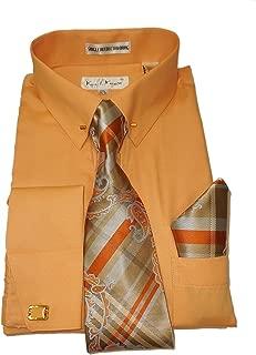 SX4401 Mens Peach Coral Pointed Collar French Cuff Dress Shirt Pin Collar Bar Plaid Tie