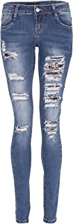 NOROZE Womens Ripped Skinny Jeans Studs Sequin Lace Up Pants