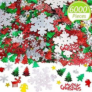 6000 Pieces Christmas Table Confetti Pentagram, Snowflake, Santa, Pine, Sequin, Merry Christmas Alphabet Confetti for Christmas Party Decoration