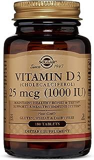 Vitamin D3 (Cholecalciferol) 25 mcg (1000 IU) Tablets - 180 Count