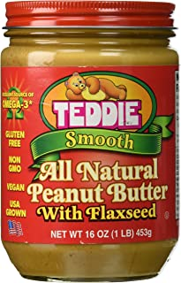 Teddie Smooth All Natural Peanut Butter with Flaxseed (Pack of 4)