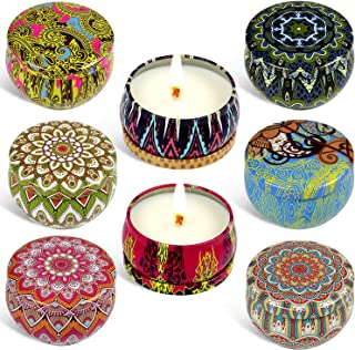 Tobeape Scented Candles Gift Set, Natural Soy Wax 2.5 Oz Portable Travel Tin Candle, Aromatherapy Candles with Strongly Fragrance Essential Oils for Stress Relief - 8 Pack