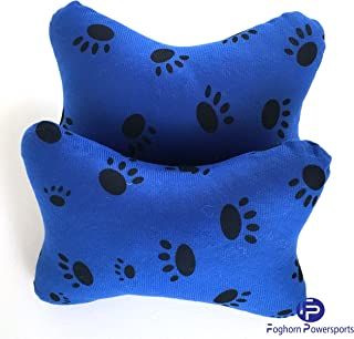 Foghorn Powersports Blue Paw Print Car Seat Headrest Pillows (Pair) - Auto, Truck,Travel, Chair Cervical Neck Support Cushion for Head Rest.