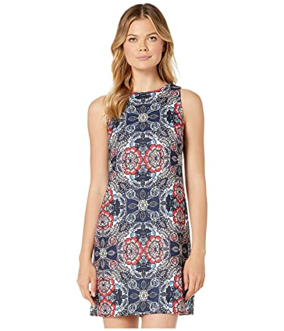 Vince Camuto Printed Jacquard Sleeveless Shift Dress (Navy Multi) Women