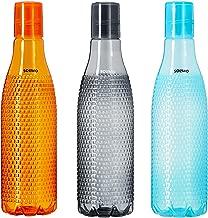 Amazon Brand – Solimo Plastic Fridge Bottle Set (3 pieces, 1L, Checkered pattern, Multicolour)