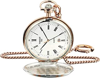 Unisex Savonnette Swiss Quartz Brass Pocket Watch (Model: T8624102901300)