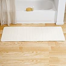 "Lavish Home Memory Foam Striped Extra Long Bath Mat, White, 24 by 60"""
