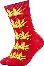 Calcetines con diseño de marihuana, color rojo con hojas amarillas