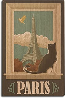 Lantern Press Paris, France - Eiffel Tower and Cat Window (10x15 Wood Wall Sign, Wall Decor Ready to Hang)