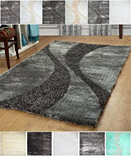 Furnish my Place 5x8 Hand Woven Soft & Plush Modern Silky Shag Area Shag for Indoor Home Bedroom Living Room Dining Room Grey Two Tone 815