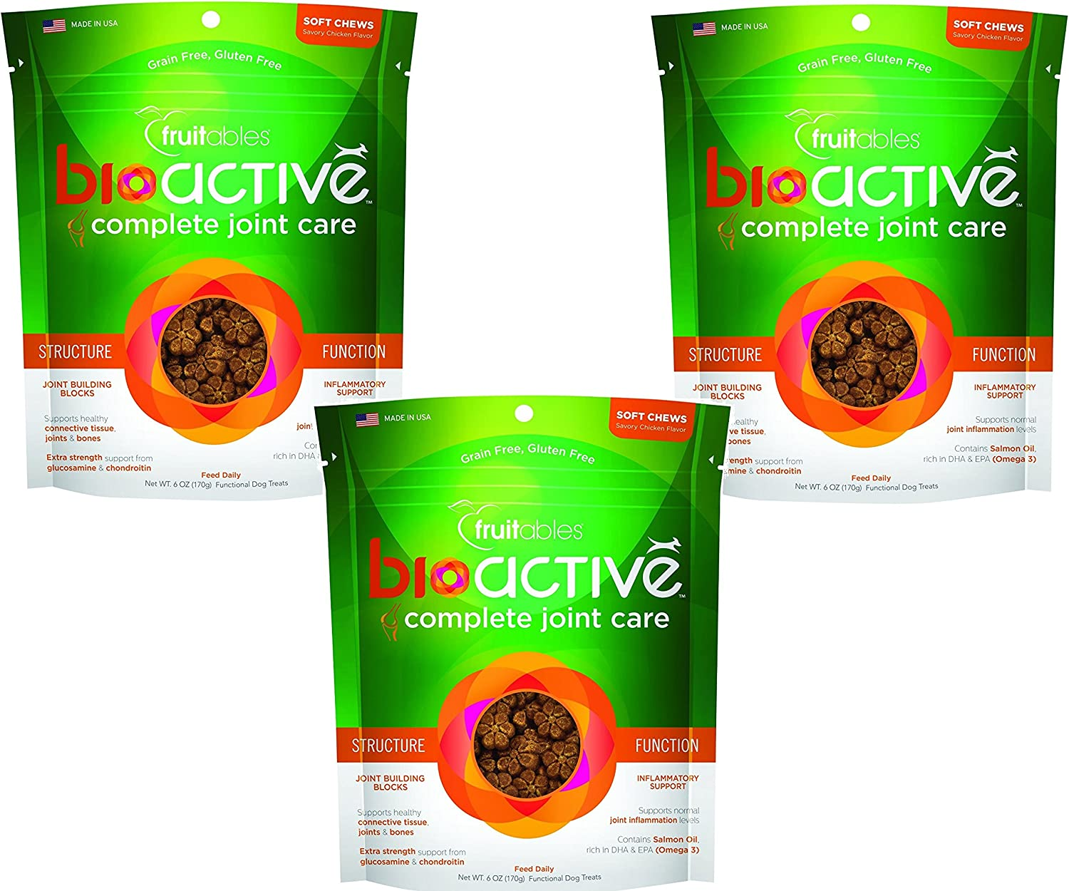 3 Pack of Fruitables BioActive Complete Joint Care Functional Chewy Treats, 6 oz Each