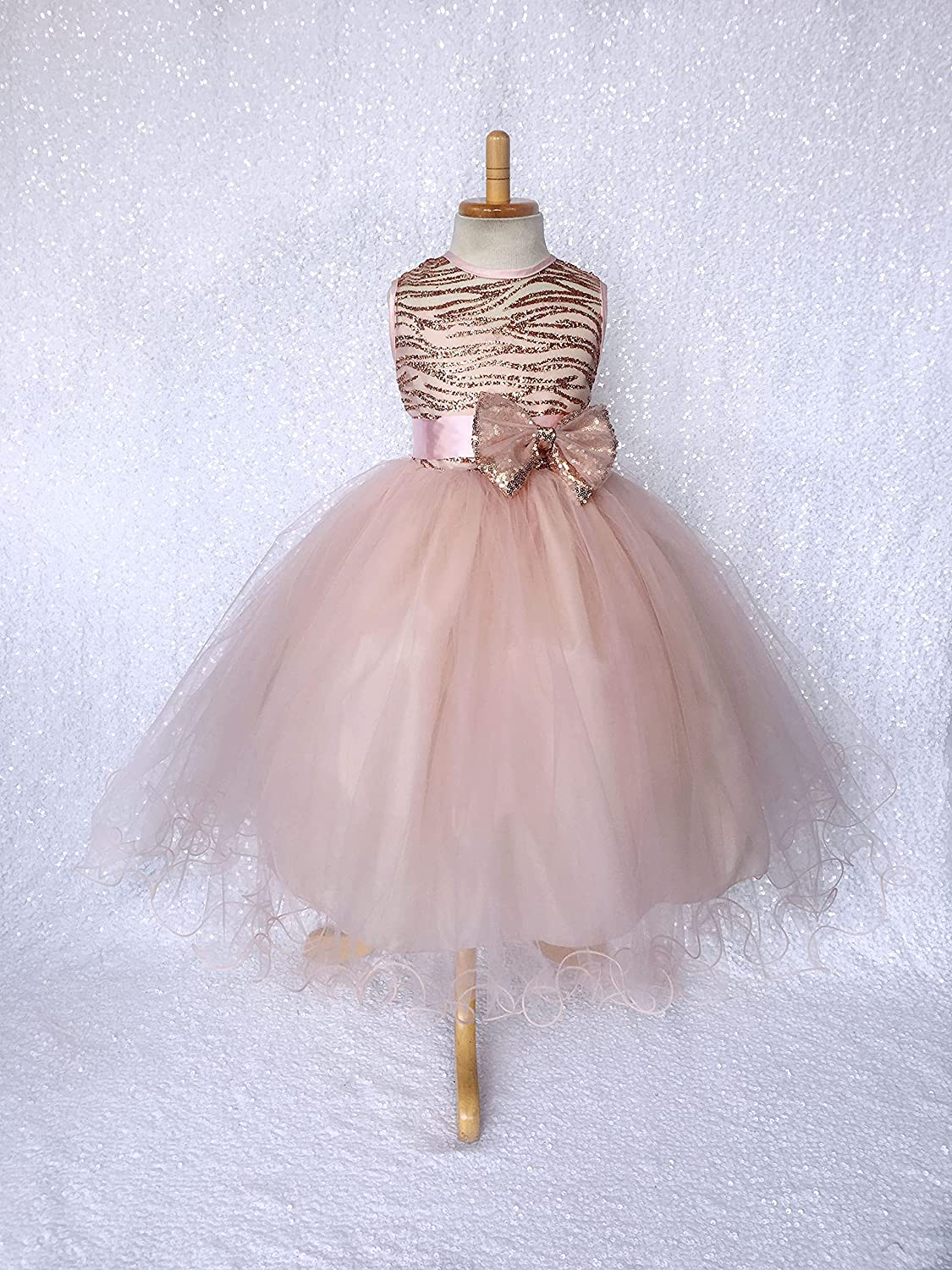 Rose Gold Glitter Max 52% Max 47% OFF OFF Striped Mesh 2 Blush Layer Dres Tulle Birthday