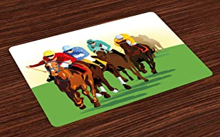 Lunarable Horse Place Mats Set of 4, Vibrant Colorful Competitive Scene with Jockeys Racing Horses Equine Retro Artwork, Washable Fabric Placemats for Dining Table, Standard Size, Multicolor