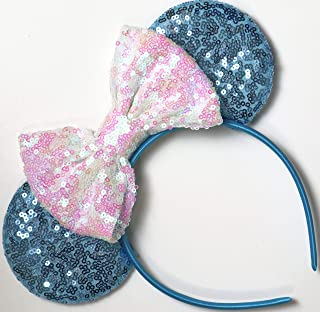 CLGIFT Frozen Inspired Minnie Mouse Ears, Elsa Ears, Elsa Minnie Ears, Blue Minnie Ears (Blue/White)