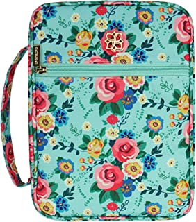 Inspring Bible Cover Case for Women with Zip Pocket and Inner Organizing Pockets Fits Standard Size Bible 10x7.5x2.5in Floral Fabric