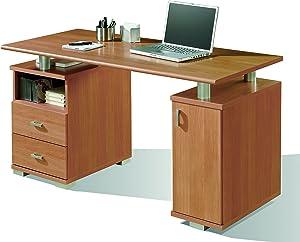 Abitti Mesa de Escritorio para despacho u Oficina en Color Cerezo con Dos cajones y Compartimento con Puerta 137x75x65 cm