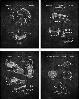 TheNameStore Soccer Patent Print Wall Art - Set of Four Fine Art Photos 8x10 Unframed - Great Gift for Soccer Player Decor (Black)