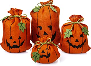 Besti Pumpkin Halloween Decorations (4 Burlap Sacks) Cute, Decorative Indoor Decor for Homes, Kitchens, Window Displays | Refillable, Reusable Vintage Bags | Spooky Fun