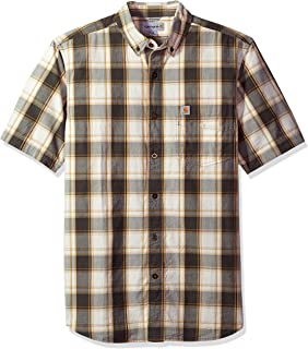 Men's Essential Plaid Button Down Collar Short Sleeve Shirt