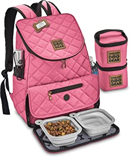 Dog Travel Bag - Deluxe Quilted Weekender Backpack - Includes Lined Food Carriers and Collapsible Bowls (Black)