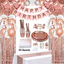 Rose Gold Birthday Party Decorations, Rose Gold Party Decorations Set for Girls Or Women, Happy Birthday Banner, Curtains,...