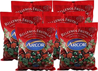 Arcor Kosher Filled Strawberry Flavored Hard Candy with Chewy Centers - Each bag contains 470 Grams = Total 2820-grams (6.21lb) (Pack of 6).