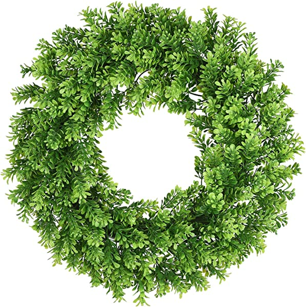 Lvydec Artificial Green Leaves Wreath 16 Fake Boxwood Wreath With Full Artificial Leaves For Front Door Wall Window Party D Cor