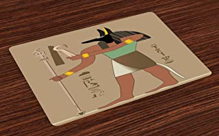 Lunarable Egyptian Place Mats Set of 4, Abstract Mythological Eygptian Invention of Embalming First Mummy Old Times, Washable Fabric Placemats for Dining Room Kitchen Table Decor, Multicolor