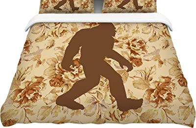 88 X 88 KESS InHouse Snap Studio Hanging Around Brown Red Queen Comforter