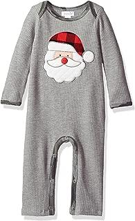 Mud Pie Baby Boys' Christmas Santa Long Sleeve Waffle Weave One Piece Playwear