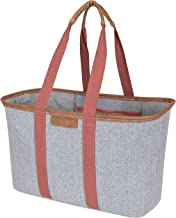 CleverMade SnapBasket LUXE - Reusable Collapsible Durable Grocery Shopping Bag with Reinforced Bottom - Large Heavy Duty Canvas Carryall Tote, Herringbone